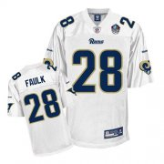 Wholesale Cheap Rams #28 Marshall Faulk White Hall of Fame 2011 Stitched NFL Jersey