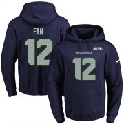Wholesale Cheap Nike Seahawks #12 Fan Navy Blue Name & Number Pullover NFL Hoodie