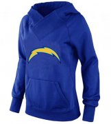 Wholesale Cheap Women's Los Angeles Chargers Logo Pullover Hoodie Blue-1