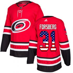 Wholesale Cheap Adidas Hurricanes #31 Anton Forsberg Red Home Authentic USA Flag Stitched Youth NHL Jersey