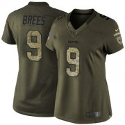 Wholesale Cheap Nike Saints #9 Drew Brees Green Women's Stitched NFL Limited 2015 Salute to Service Jersey