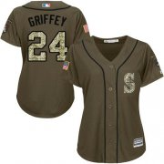 Wholesale Cheap Mariners #24 Ken Griffey Green Salute to Service Women's Stitched MLB Jersey