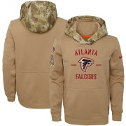 Wholesale Cheap Youth Atlanta Falcons Nike Khaki 2019 Salute to Service Therma Pullover Hoodie