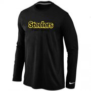 Wholesale Cheap Nike Pittsburgh Steelers Authentic Font Long Sleeve T-Shirt Black