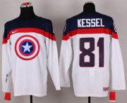 Wholesale Cheap Olympic Team USA #81 Phil Kessel White Captain America Fashion Stitched NHL Jersey