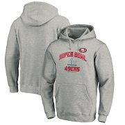 Wholesale Cheap Men's San Francisco 49ers NFL Heather Gray Super Bowl LIV Bound Heart & Soul Pullover Hoodie