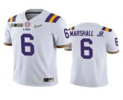 Wholesale Cheap Men's LSU Tigers #6 Terrace Marshall Jr. White 2020 National Championship Game Jersey