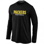 Wholesale Cheap Nike Green Bay Packers Authentic Font Long Sleeve T-Shirt Black
