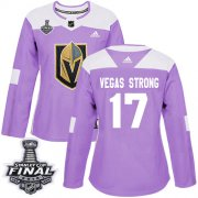 Wholesale Cheap Adidas Golden Knights #17 Vegas Strong Purple Authentic Fights Cancer 2018 Stanley Cup Final Women's Stitched NHL Jersey