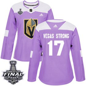Wholesale Cheap Adidas Golden Knights #17 Vegas Strong Purple Authentic Fights Cancer 2018 Stanley Cup Final Women\'s Stitched NHL Jersey