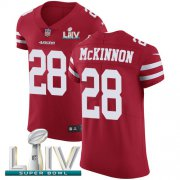 Wholesale Cheap Nike 49ers #28 Jerick McKinnon Red Super Bowl LIV 2020 Team Color Men's Stitched NFL Vapor Untouchable Elite Jersey