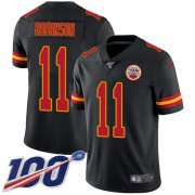 Wholesale Cheap Nike Chiefs #11 Demarcus Robinson Black Men's Stitched NFL Limited Rush 100th Season Jersey