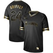 Wholesale Cheap Nike Mariners #24 Ken Griffey Black Gold Authentic Stitched MLB Jersey