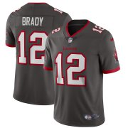 Wholesale Cheap Tampa Bay Buccaneers #12 Tom Brady Men's Nike Pewter Alternate Vapor Limited Jersey