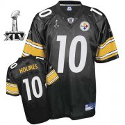 Wholesale Cheap Steelers #10 Santonio Holmes Black Super Bowl XLV Stitched NFL Jersey