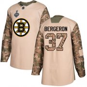 Wholesale Cheap Adidas Bruins #37 Patrice Bergeron Camo Authentic 2017 Veterans Day Stanley Cup Final Bound Youth Stitched NHL Jersey