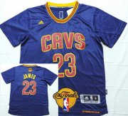 Wholesale Cheap Men's Cleveland Cavaliers #23 LeBron James 2017 The NBA Finals Patch Navy Blue Short-Sleeved Jersey