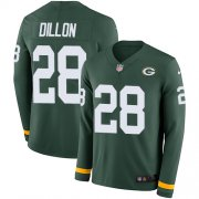 Wholesale Cheap Nike Packers #28 AJ Dillon Green Team Color Youth Stitched NFL Limited Therma Long Sleeve Jersey