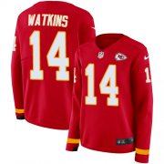 Wholesale Cheap Nike Chiefs #14 Sammy Watkins Red Team Color Women's Stitched NFL Limited Therma Long Sleeve Jersey