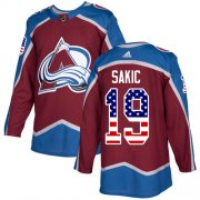 Wholesale Cheap Adidas Avalanche #19 Joe Sakic Burgundy Home Authentic USA Flag Stitched NHL Jersey