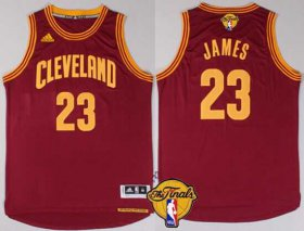 Wholesale Cheap Men\'s Cleveland Cavaliers #23 LeBron James 2015 The Finals New Red Jersey