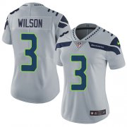Wholesale Cheap Nike Seahawks #3 Russell Wilson Grey Alternate Women's Stitched NFL Vapor Untouchable Limited Jersey
