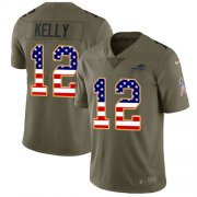 Wholesale Cheap Nike Bills #12 Jim Kelly Olive/USA Flag Men's Stitched NFL Limited 2017 Salute To Service Jersey