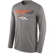 Wholesale Cheap Denver Broncos Nike Legend Staff Practice Performance Long Sleeve T-Shirt Heathered Gray