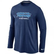 Wholesale Cheap Nike Carolina Panthers Authentic Font Long Sleeve T-Shirt Dark Blue