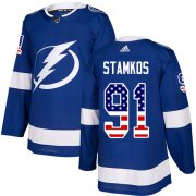 Wholesale Cheap Adidas Lightning #91 Steven Stamkos Blue Home Authentic USA Flag Stitched NHL Jersey