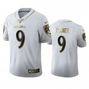 Wholesale Cheap Baltimore Ravens #9 Justin Tucker Men's Nike White Golden Edition Vapor Limited NFL 100 Jersey
