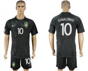 Wholesale Cheap Brazil #10 Ronaldinho Black Soccer Country Jersey