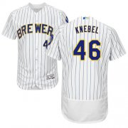 Wholesale Cheap Brewers #46 Corey Knebel White Strip Flexbase Authentic Collection Stitched MLB Jersey