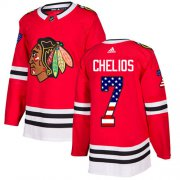 Wholesale Cheap Adidas Blackhawks #7 Chris Chelios Red Home Authentic USA Flag Stitched NHL Jersey