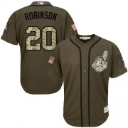 Wholesale Cheap Indians #20 Eddie Robinson Green Salute to Service Stitched MLB Jersey