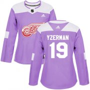 Wholesale Cheap Adidas Red Wings #19 Steve Yzerman Purple Authentic Fights Cancer Women's Stitched NHL Jersey