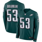 Wholesale Cheap Nike Eagles #53 Nigel Bradham Midnight Green Team Color Men's Stitched NFL Limited Therma Long Sleeve Jersey