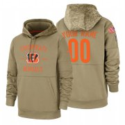Wholesale Cheap Cincinnati Bengals Custom Nike Tan 2019 Salute To Service Name & Number Sideline Therma Pullover Hoodie