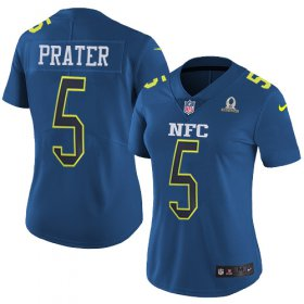 Wholesale Cheap Nike Lions #5 Matt Prater Navy Women\'s Stitched NFL Limited NFC 2017 Pro Bowl Jersey