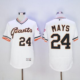 Wholesale Giants #24 Willie Mays White Flexbase Authentic Collection Cooperstown Stitched Baseball Jersey