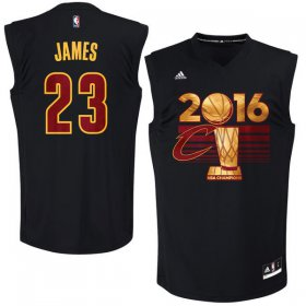 Wholesale Cheap Men\'s Cleveland Cavaliers LeBron James #23 adidas Black 2016 NBA Finals Champions Jersey-Printed Style