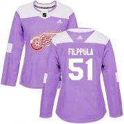 Wholesale Cheap Adidas Red Wings #51 Valtteri Filppula Purple Authentic Fights Cancer Women's Stitched NHL Jersey