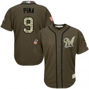 Wholesale Cheap Brewers #9 Manny Pina Green Salute to Service Stitched MLB Jersey