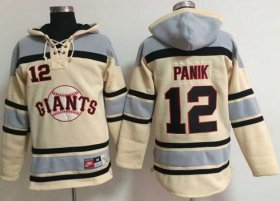 Wholesale Cheap Giants #12 Joe Panik Cream Sawyer Hooded Sweatshirt MLB Hoodie