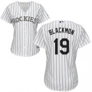 Wholesale Cheap Rockies #19 Charlie Blackmon White Strip Home Women's Stitched MLB Jersey