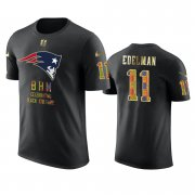 Wholesale Cheap Patriots #11 Julian Edelman Black Men's Black History Month T-Shirt