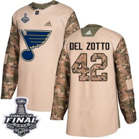 Wholesale Cheap Adidas Blues #42 Michael Del Zotto Camo Authentic 2017 Veterans Day 2019 Stanley Cup Final Stitched NHL Jersey