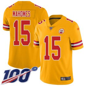 Wholesale Cheap Nike Chiefs #15 Patrick Mahomes Gold Men\'s Stitched NFL Limited Inverted Legend 100th Season Jersey