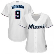 Wholesale Cheap Marlins #9 Lewis Brinson White Home Women's Stitched MLB Jersey