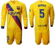 Wholesale Cheap Barcelona #5 Sergio Away Long Sleeves Soccer Club Jersey